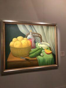 """Natura morta con frutta e bottiglia"""", olio su tela 2000"""