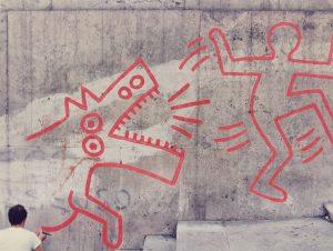 Keith Haring Deleted - Roma, Palazzo delle Esposizioni, 11 settembre 1984, foto di Stefano Fontebasso De Martino,MACRO cross the streets